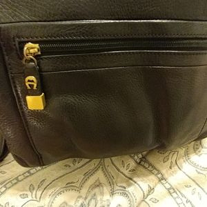 Aigner Vintage Black Leather Purse with long strap